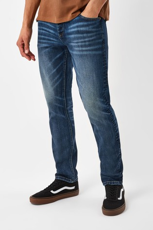 Washed Indigo Slim Fit Jeans With Stretch