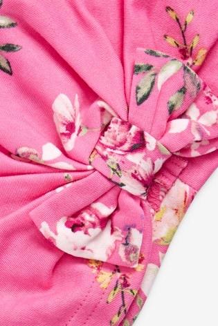 Pink Floral Turban (0-18mths)
