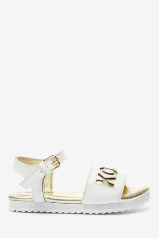 Michael Kors White With Gold Logo Stretch Sandals