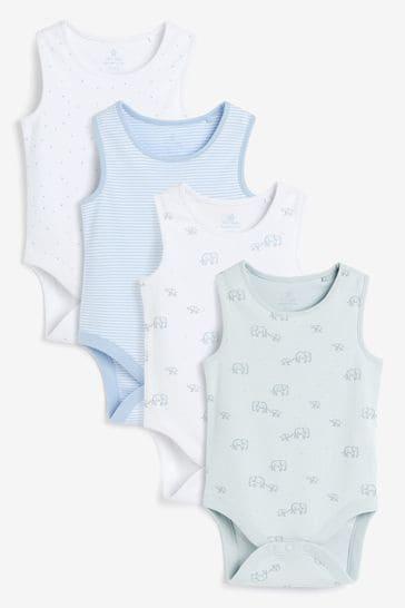 Pale Blue 4 Pack GOTS Organic Elephant Vest Bodysuits (0mths-3yrs)