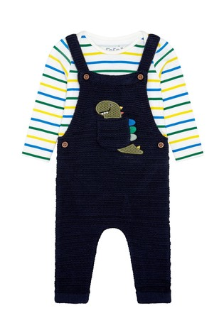 F&F Navy Dino Knitted Dungaree