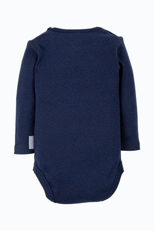 Frugi Organic Cotton Long Sleeve Plain Navy Bodysuit
