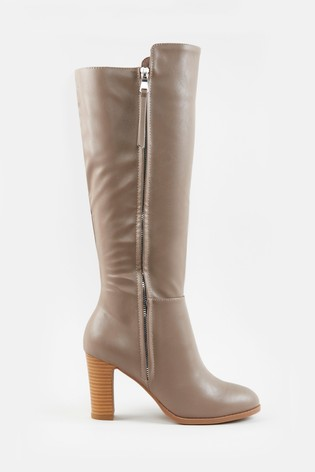 Wallis Harbour Putty Zip Detail High Leg Boots