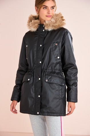 Black Waxy Parka Coat