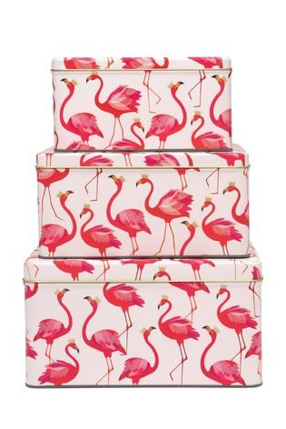 Set of 3 Sara Miller Flamingos Square Nested Cake Tins