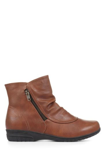 Pavers Tan Ladies Zip-Up Ankle Boots