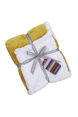 Riva Home Yellow Luxury Supersoft Deep Pile Sherpa Fleece Throw