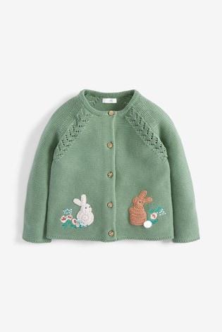 Green Bunny Cardigan (3mths-7yrs)