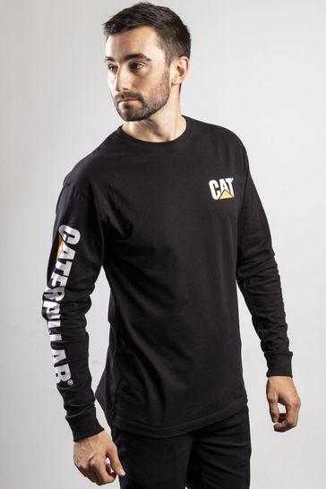 CAT® Black Trademark Banner Long Sleeve T-Shirt