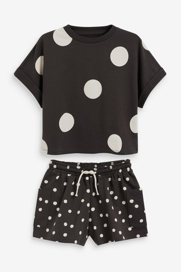 Monochrome Spot T-Shirt And Short Set (3-16yrs)