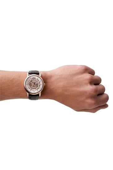 Emporio Armani Mechanical Black Leather Watch