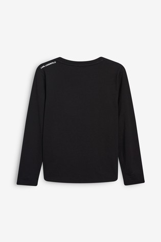 Karl Lagerfeld Black Karl And Cat Long Sleeved T-Shirt
