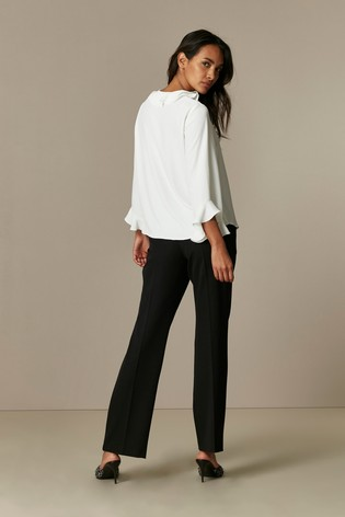Wallis Petite Ivory Frill Front Top