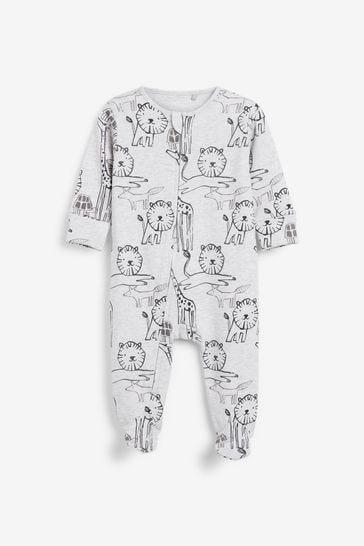 Monochrome Safari 2 Pack Zip Sleepsuits (0-3yrs)