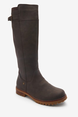 Chocolate Extra Wide Fit Forever Comfort® Long Chunky Boots