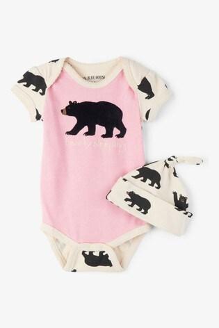 Hatley Pink Bearly Sleeping Baby Bodysuit And Hat