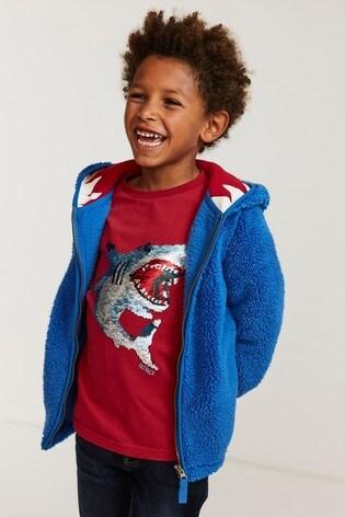 FatFace Blue Shark Tooth Fleece Zip Through Sweater