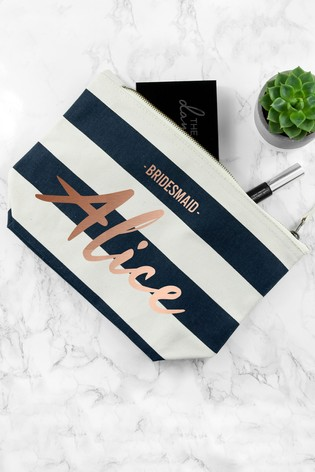 Personalised Blue Stripe Bridesmaid Cosmetic Bag by Treat Republic