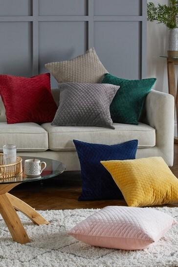 Ochre Velvet Quilted Hamilton Square Cushion