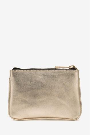 Mint Velvet Gold Leather Pouch