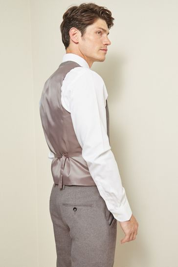 Moss London Slim Fit Neutral Unstructured Waistcoat