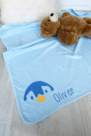 Personalised Penguin Baby Blanket by Solesmith