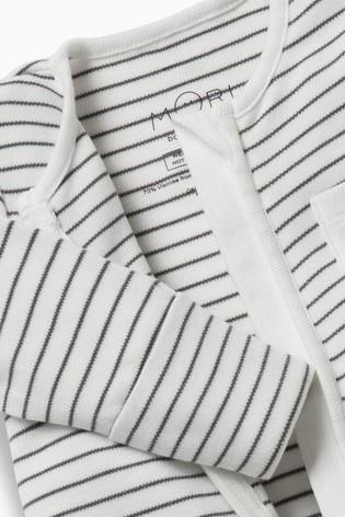 MORI White Stripe Zip-Up Sleepsuit