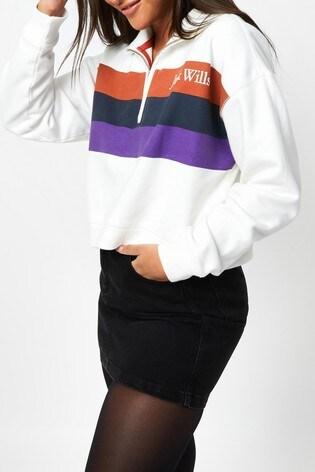 Jack Wills White Nova Half Zip Crew Sweater