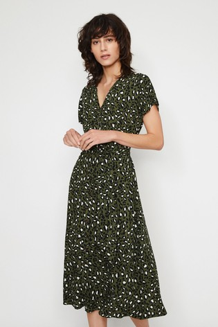 cheap prices get cheap best authentic Buy Warehouse Green Leopard Button Midi Dress from Next Ireland