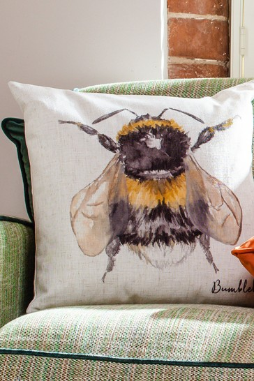 Species Hand Painted Bumblebee Linen Blend Cushion by Evans Lichfield