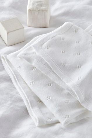 The White Company White Classic Pointelle Blanket