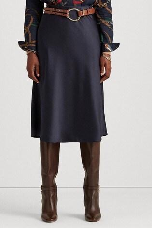 Lauren Ralph Lauren® Satin Bias Cut Sharae Midi Skirt