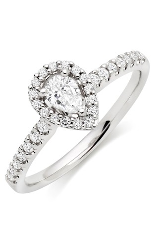 Beaverbrooks 18ct White Gold Diamond Halo Ring
