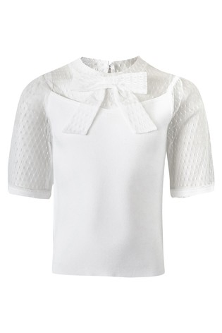 River Island White Puff Sleeve Pussy Bow Top