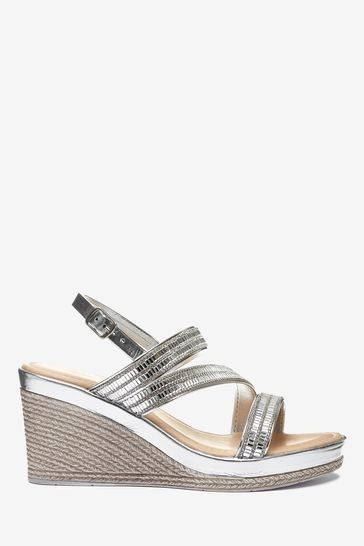 Silver Asymmetric Sparkly Wedges