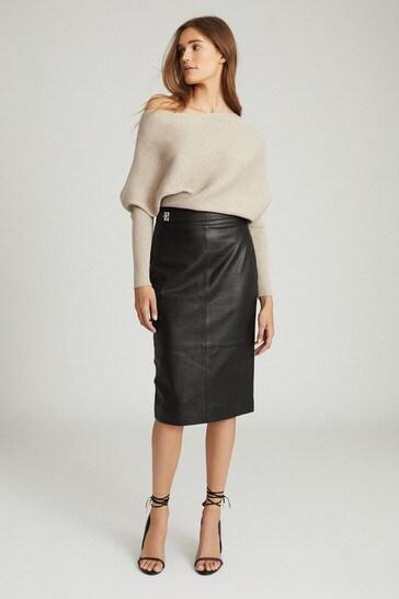 Reiss Black Kali Leather Pencil Skirt