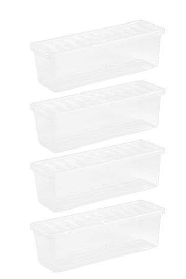 Set of 4 Wham Crystal (CD) Shallow Shelf Boxes & Lids