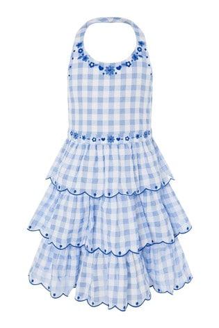 Monsoon Blue Gingham Halter Embroidered Dress