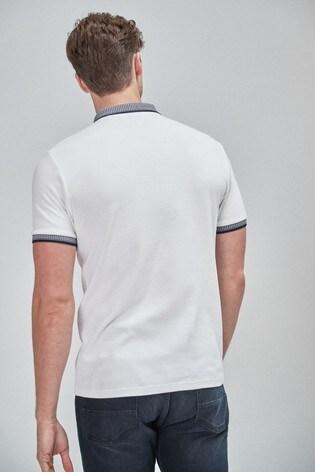 White/Black Smart Collar Polo Shirt