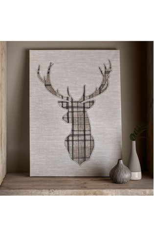 Tartan Stag Canvas by Art For The Home