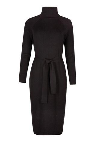 Oliver Bonas Belted Black Knitted Midi Dress