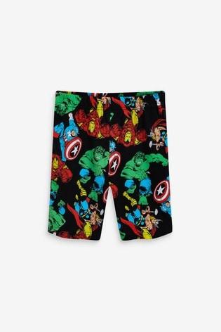 Black/Grey Marvel® 2 Pack Short Pyjamas (3-14yrs)