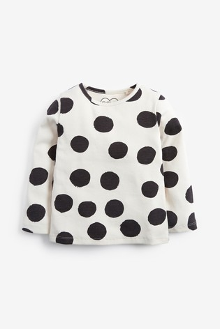 Black/White Spot Long Sleeve Rib T-Shirt (3mths-8yrs)