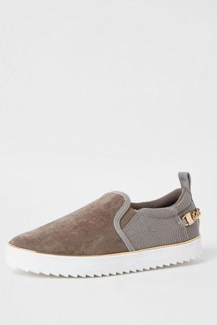 River Island Grey Trim Slip-On Shoes