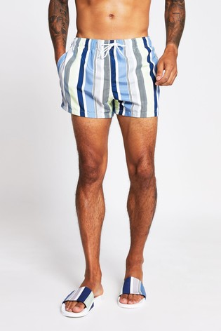 River Island White Stripe Texture Swim Shorts