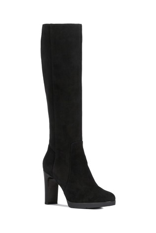 Geox WomensLadies Annya Block Heeled Leather Shoe Boots