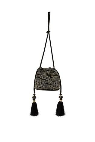 Monsoon Black Amy Animal Embellished Drawstring Bag