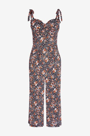 Navy Ditsy Tie Shoulder Jumpsuit