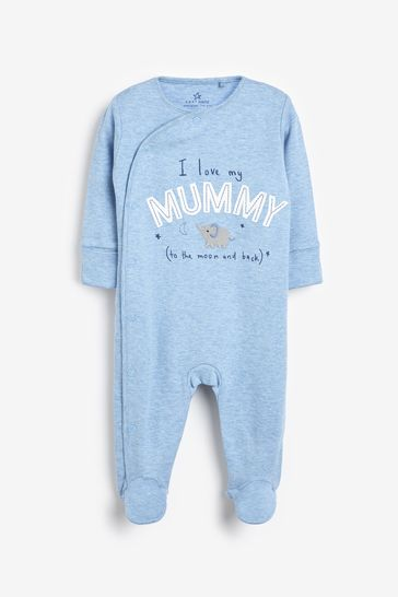 Blue/White 2 Pack Mummy And Daddy Elephant Sleepsuits (0mths-2yrs)