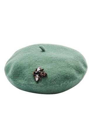 Oliver Bonas Embellished Bee Green Felt Beret Hat